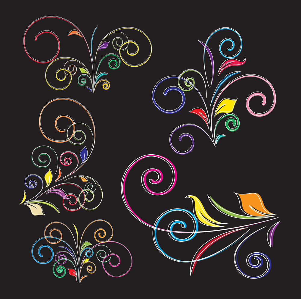 Colorful Decorative Flourish Art Elements