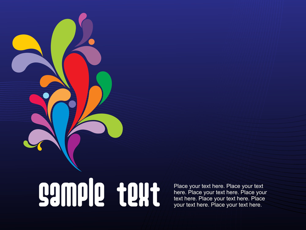 Colorful Design With Blue Background