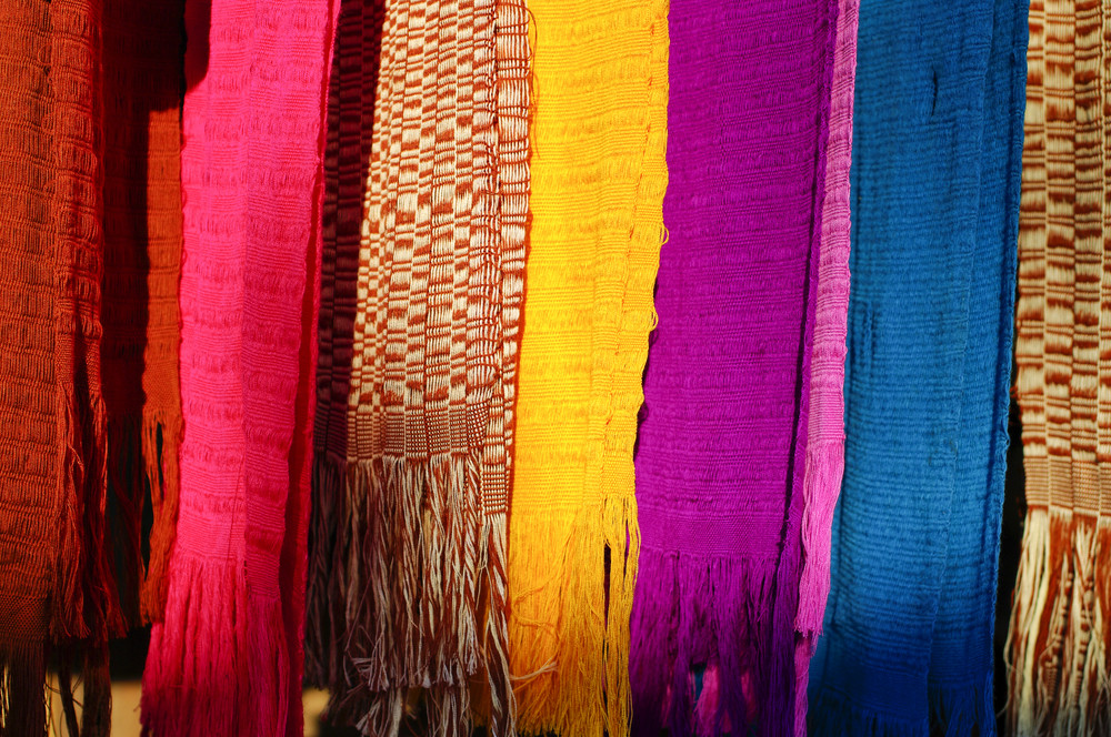 Colorful fabric which is a handmade of Karen in Northern Thailand