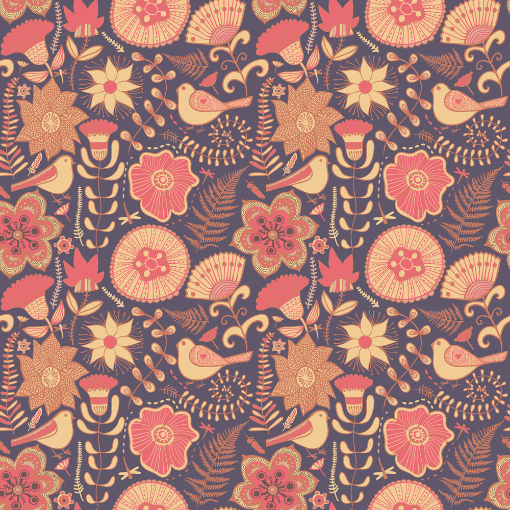 Colorful Floral Seamless Pattern In Cartoon Style Seamless