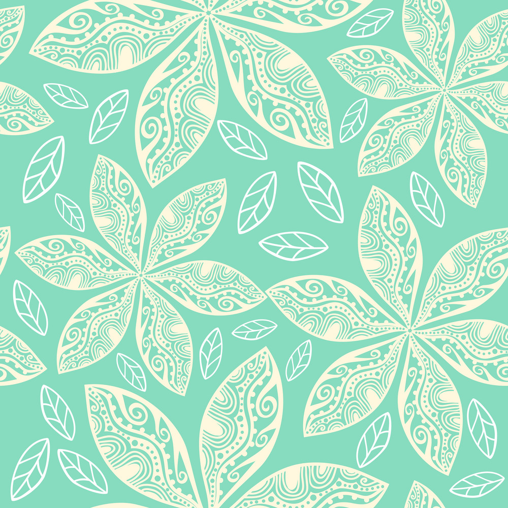 Colorful Floral Seamless Pattern In Cartoon Style. Seamless Pattern Can Be Used For Wallpaper