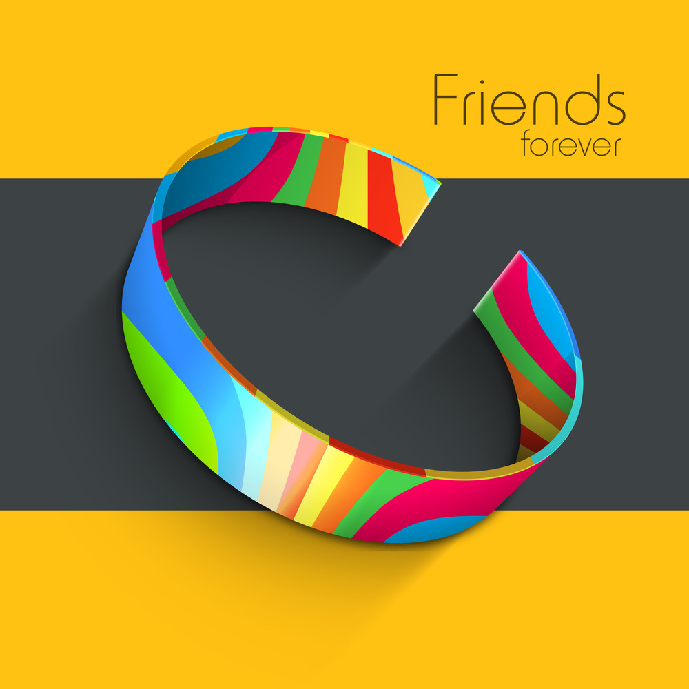 Colorful Friendship Band With Text Friends Forever For Happy Friendship Day