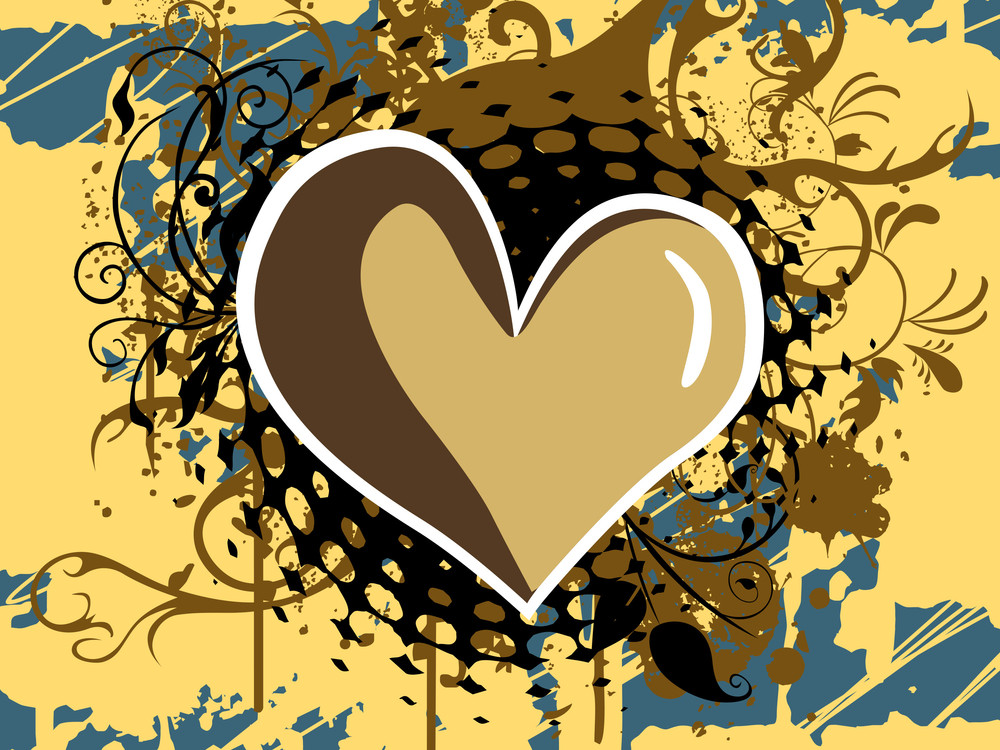 Colorful Grunge Background With Heart
