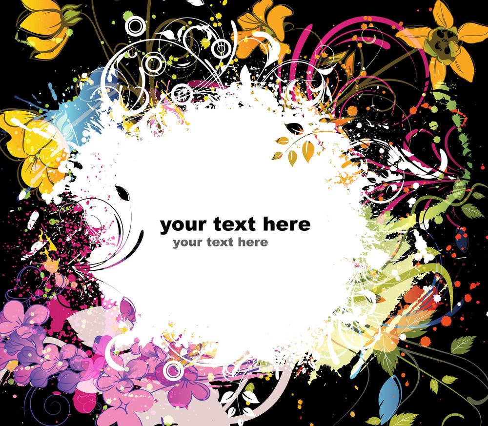 Colorful Grunge Floral Background Vector Illustration