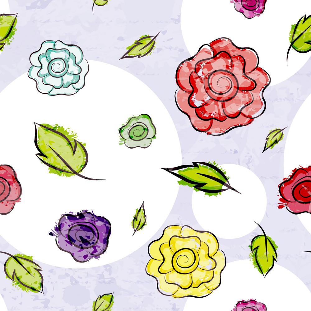 Colorful Grunge Floral Pattern Vector Illustration