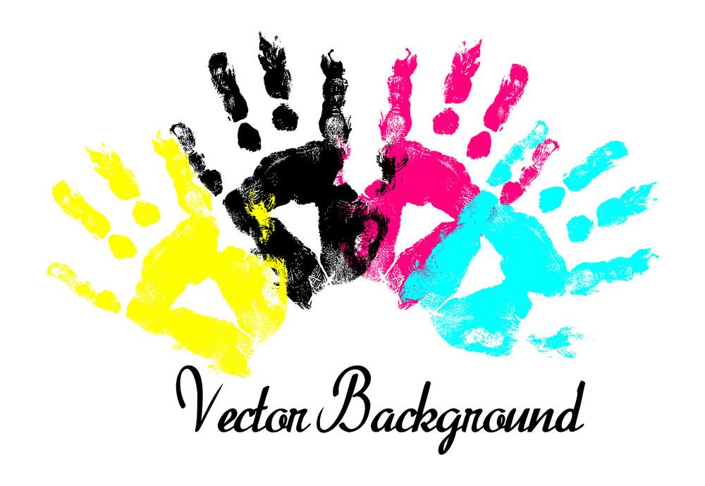 Colorful Grunge Hands Prints Background