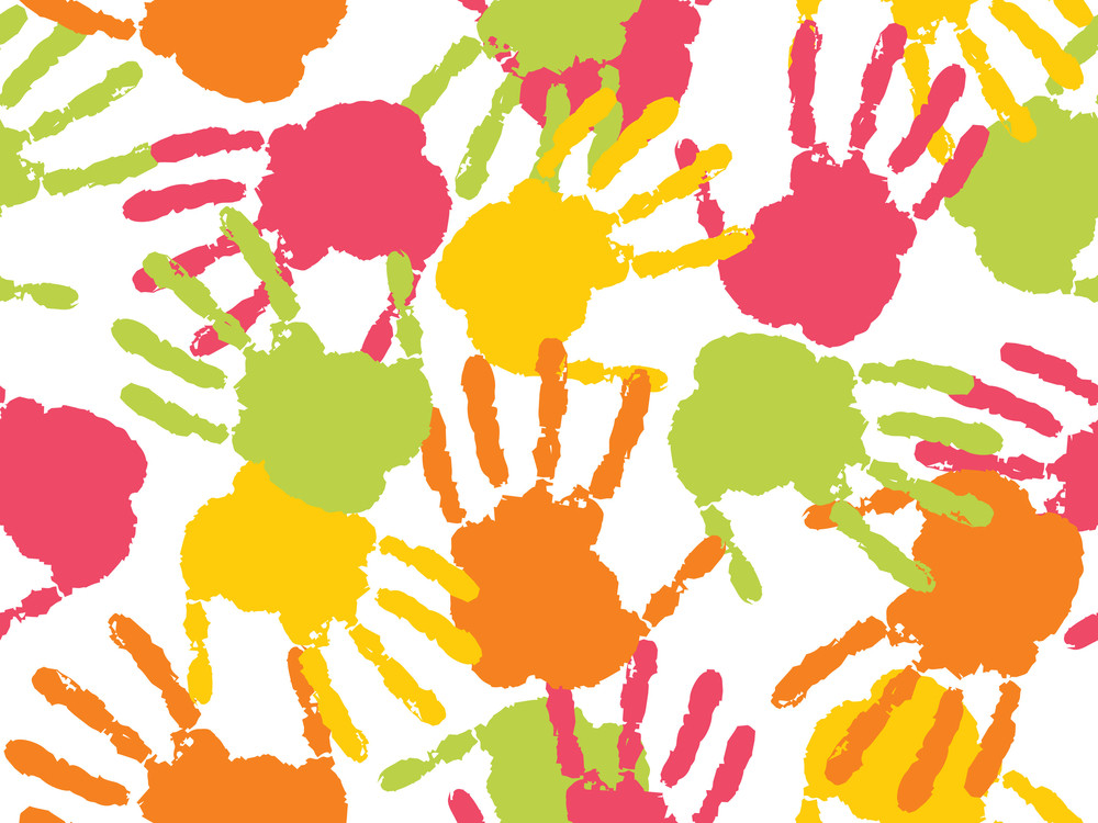 Colorful Handprint With Background
