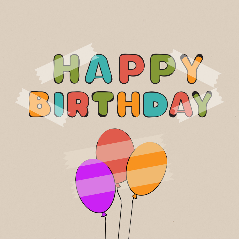 Colorful Happy Birthdat Text With Balloons On Brown Background