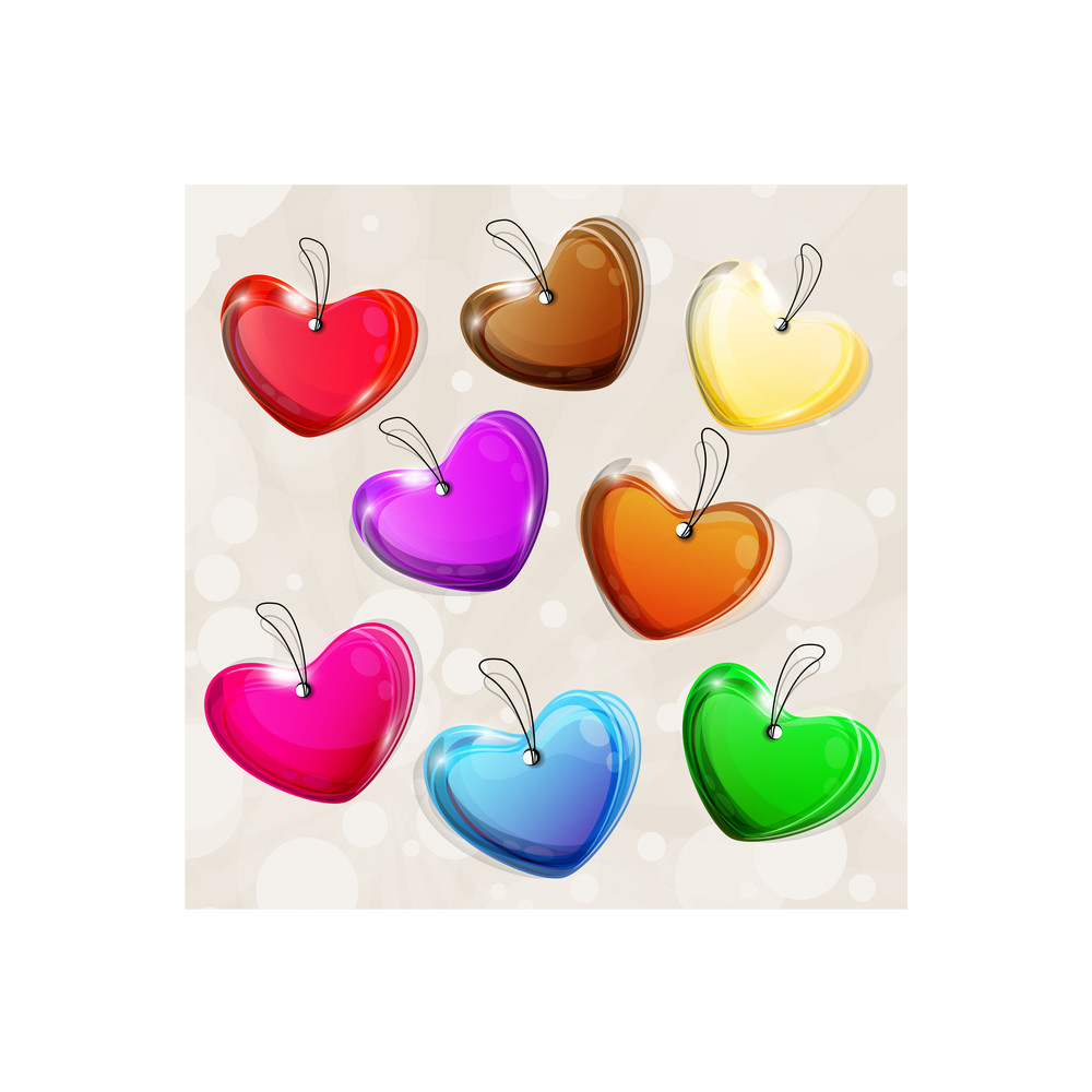 Colorful Heart Shapes With Transparency Effect