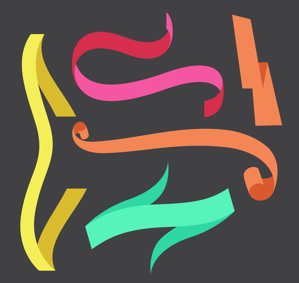 Colorful Holiday Ribbon Elements