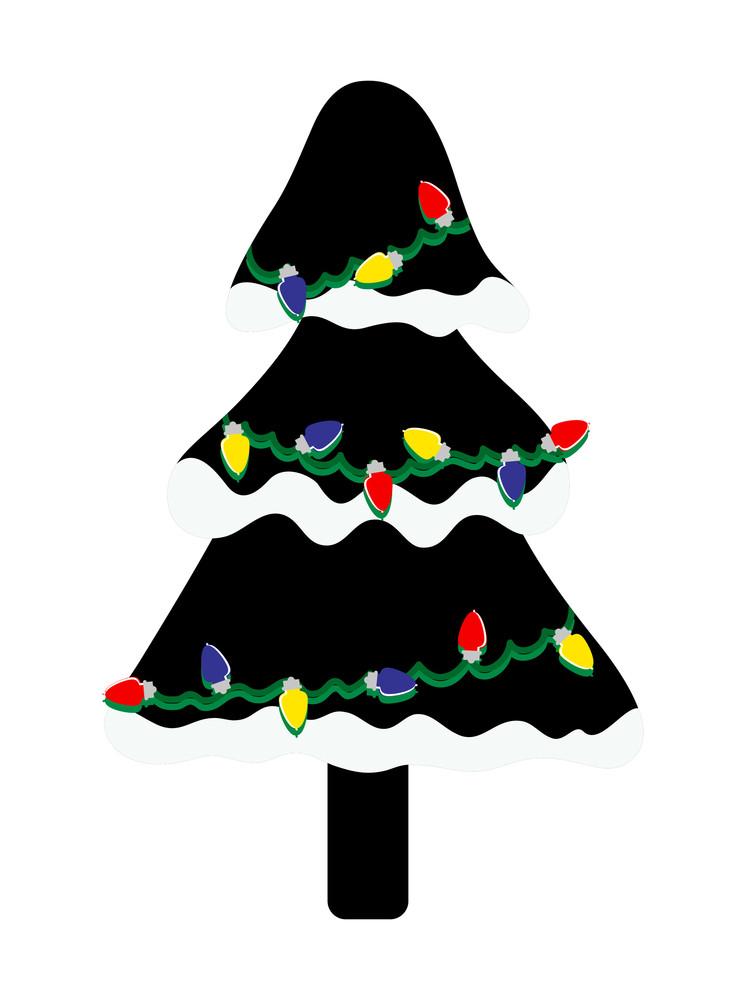Colorful Lights Snow Black Christmas Tree