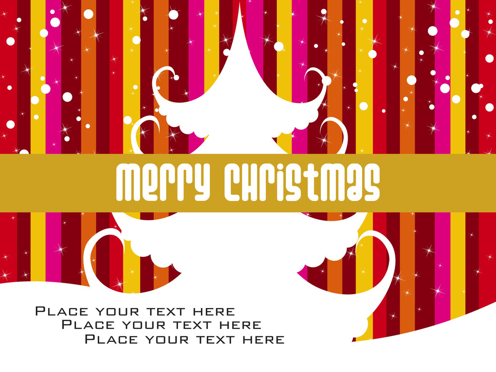 Colorful Lines Background With Christmas Tree