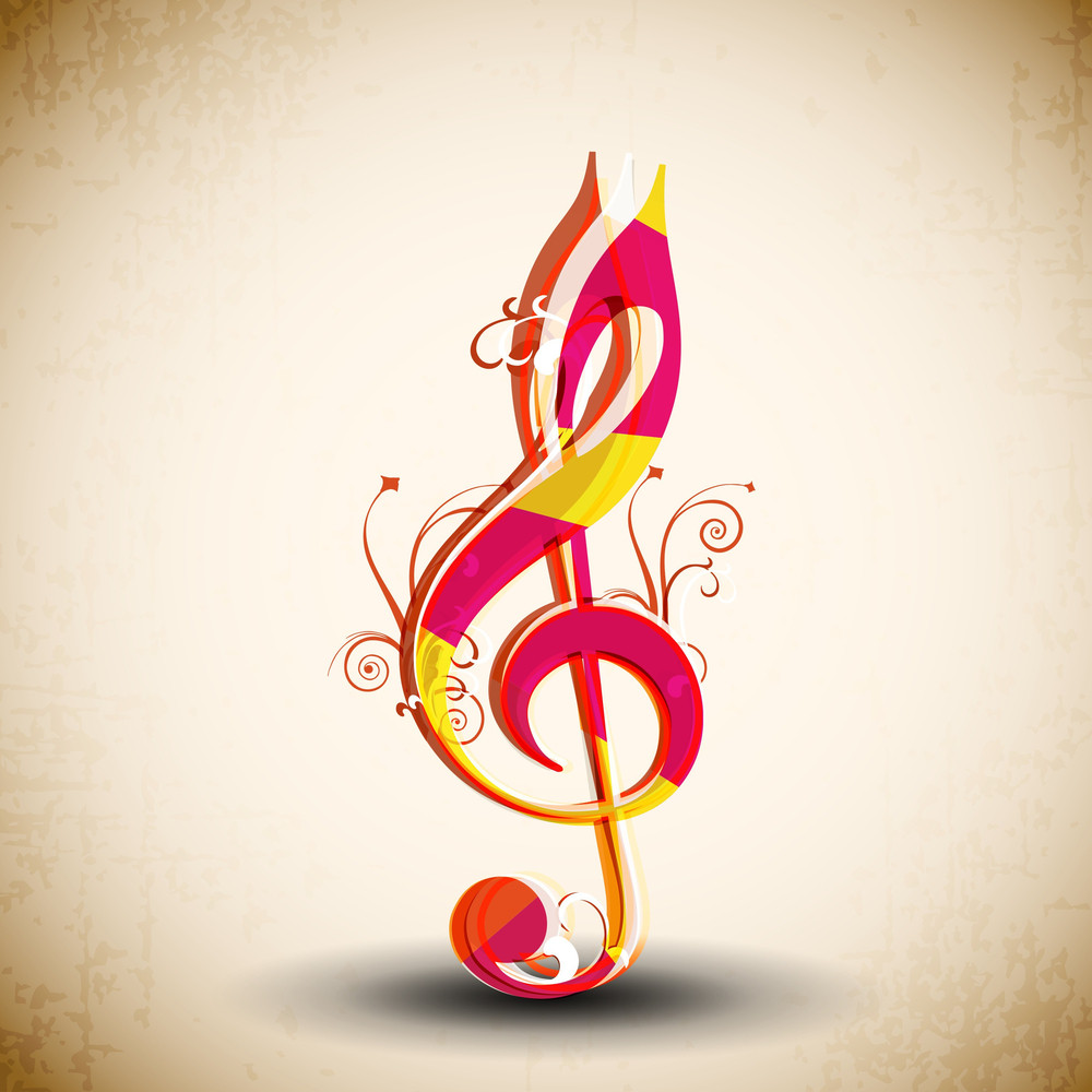 Colorful Musical Note On Abstract Background