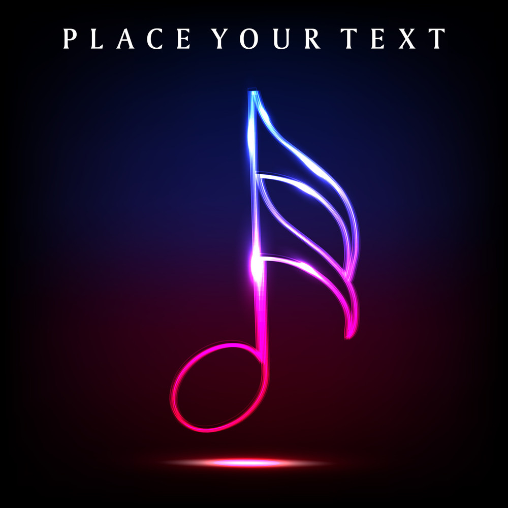 Colorful Musical Note With Neon Effect.