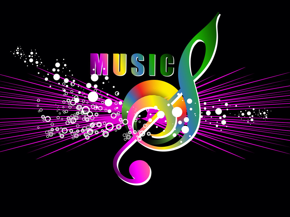 Colorful Musical Notes With Background