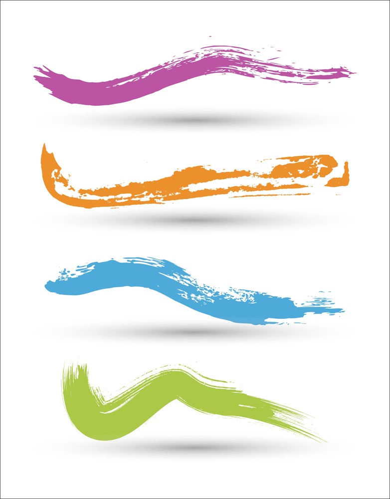 Colorful Paint Strokes Set