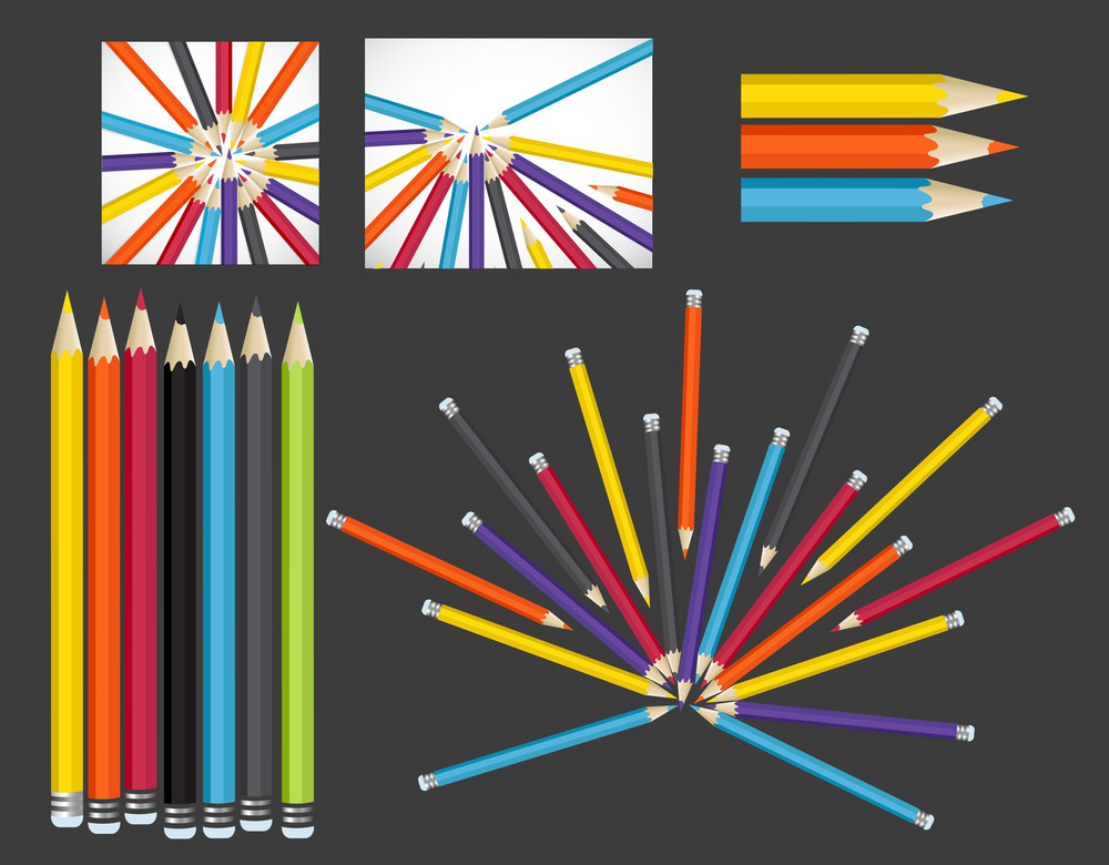Colorful Pencils Backgrounds And Vector Designs