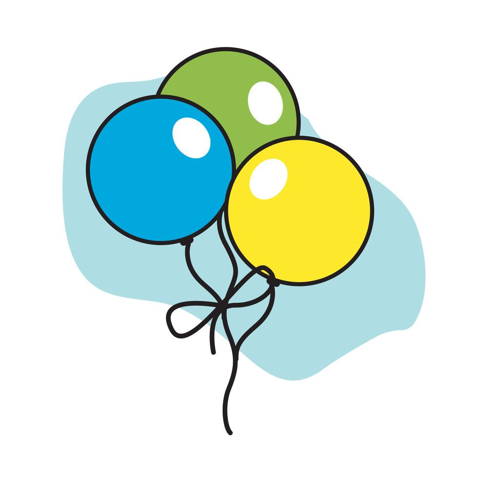 Colorful Retro Balloons Bunch Vector