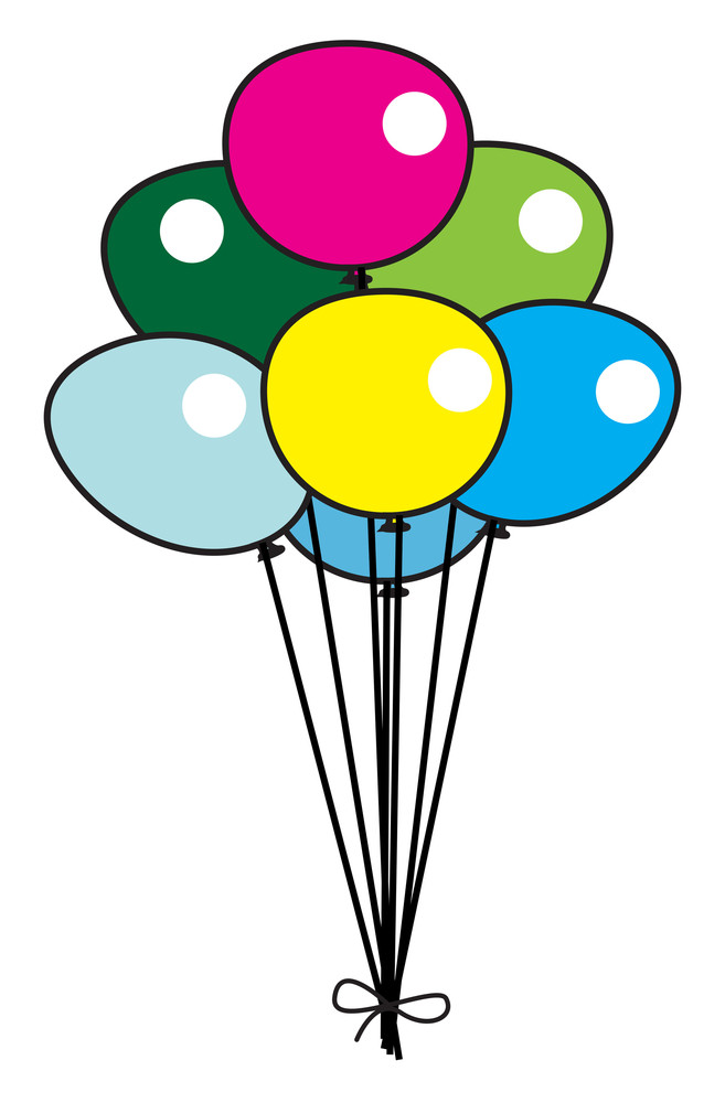 Colorful Retro Balloons Bunch