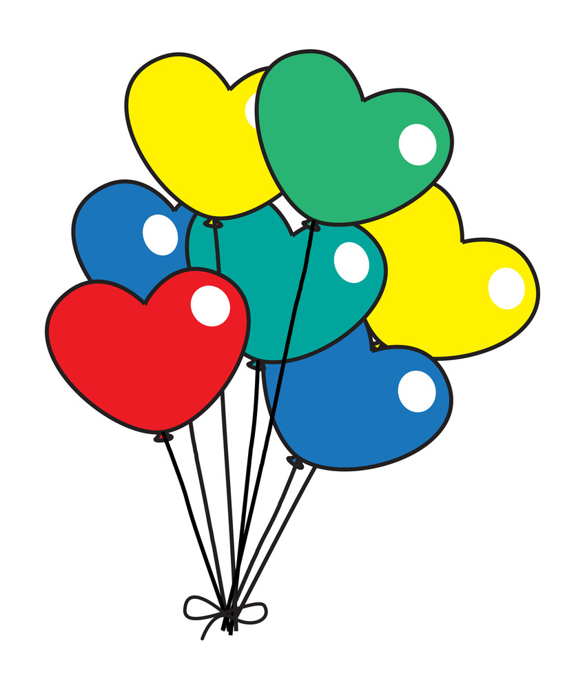 Colorful Retro Hearts Balloons