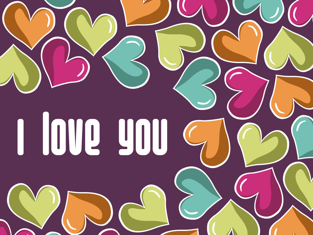 Colorful Romantic Hearrt On Purple Background