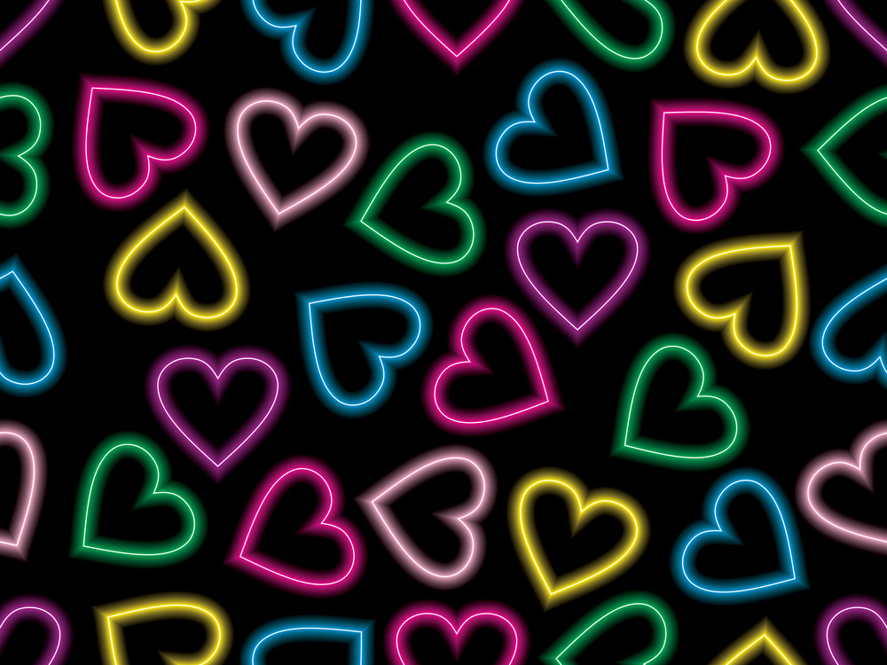 Colorful Romantic Heart On Black Background
