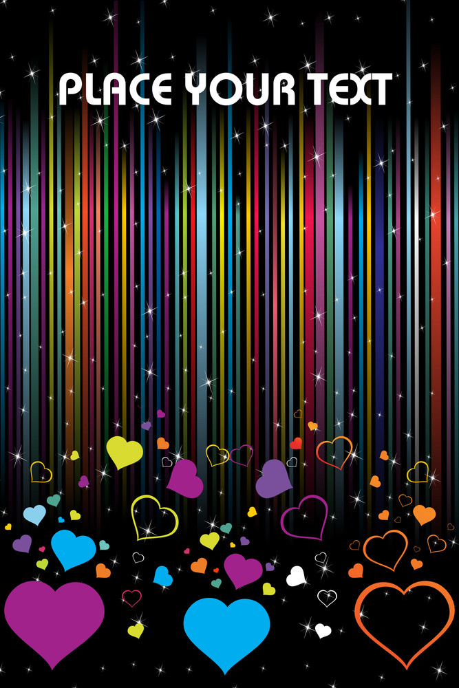 Colorful Romantic Heart On Colorful Lines Background