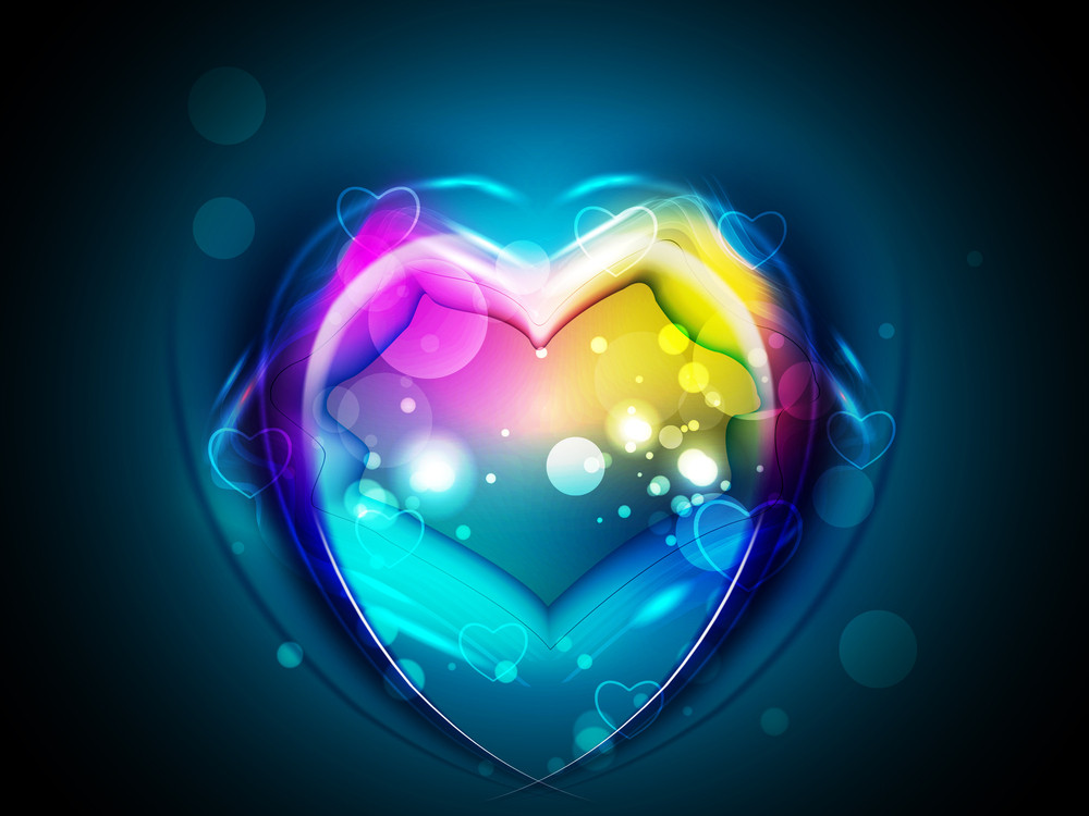 Colorful Shiny Love Background With Lips And Heart Shapes.