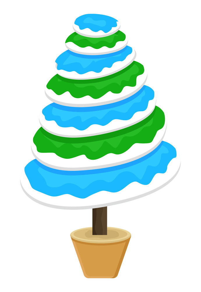 Colorful Snow Christmas Tree Vector
