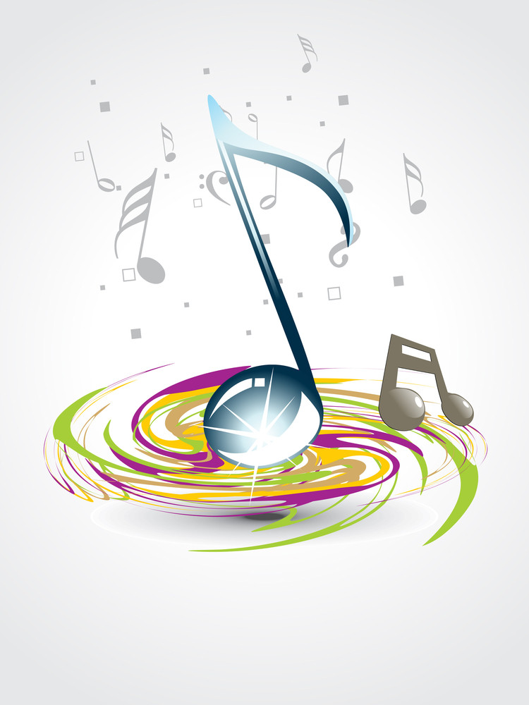 Colorful Spiral Background With Shiny Musical Notes