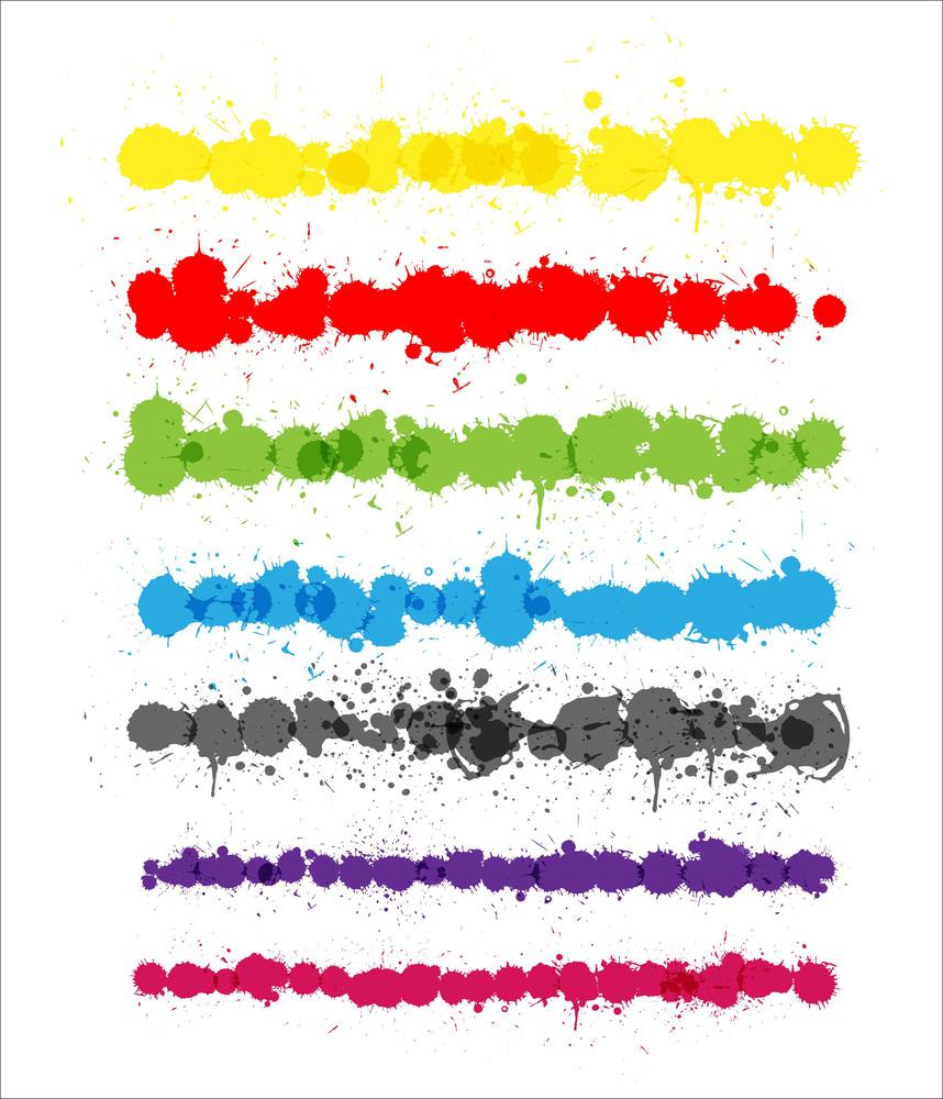 Colorful Splashes Strokes Vectors