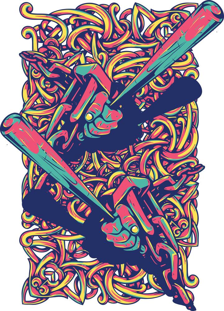 Colorful T-shirt Design With Baseball Bats
