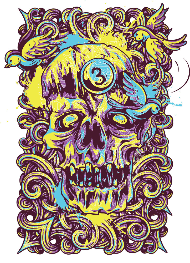 Colorful T-shirt Design With Monster Head