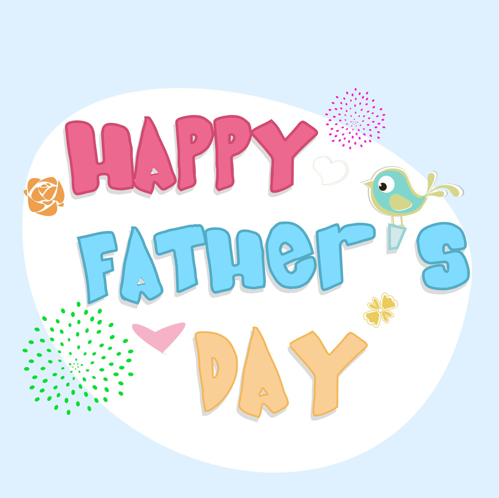 Colorful Text Happy Fathers Day On Blue Background