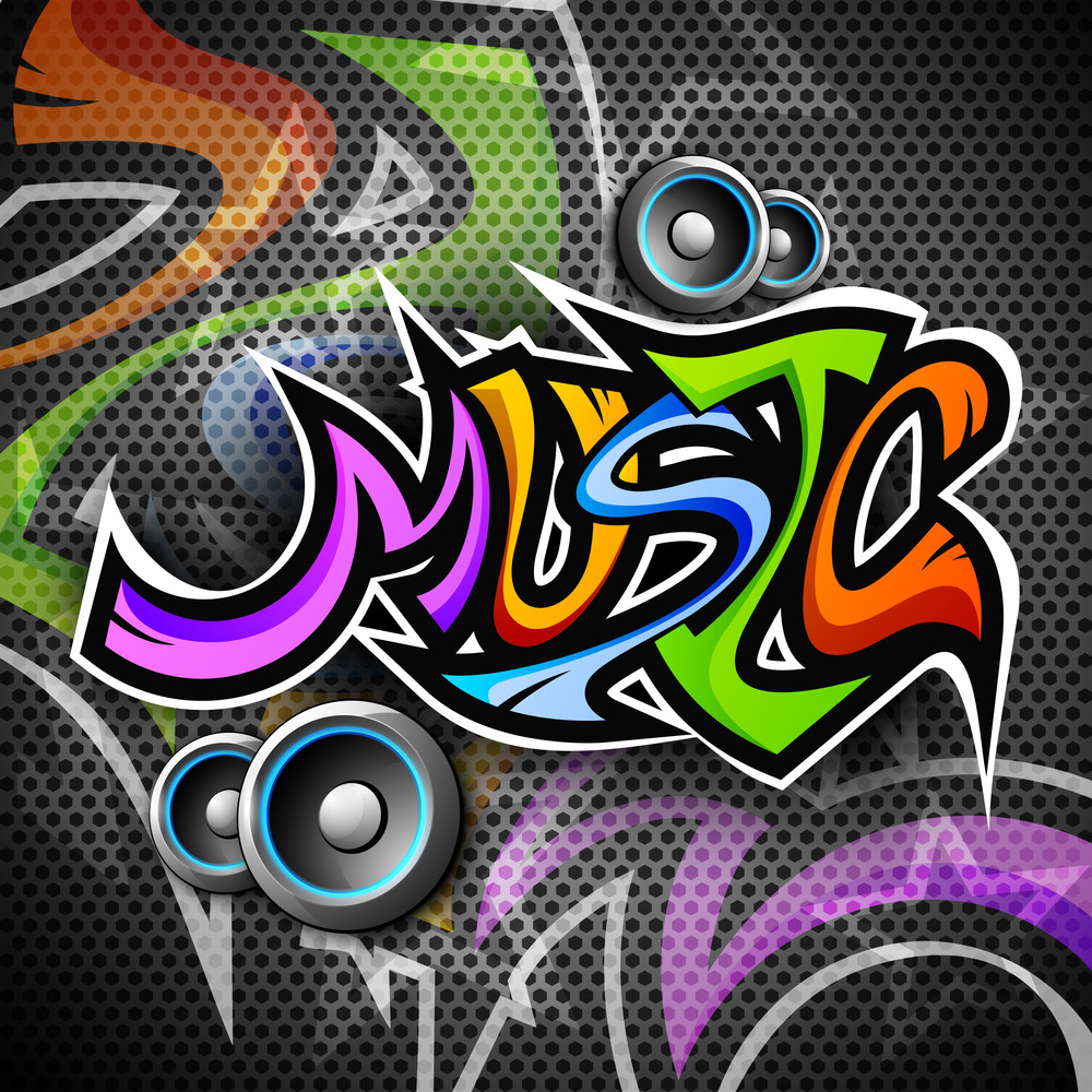 Colorful Text Music With Speakers On Creative Background.