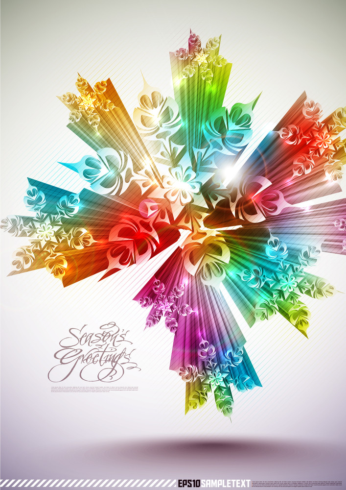 Colorful Vector 3d Snowflakes