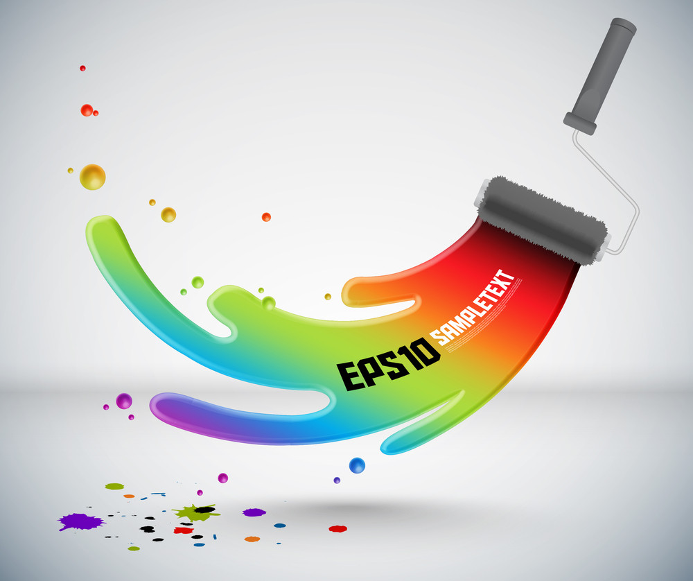 Colorful Vector Splash Paint From Roller Brush