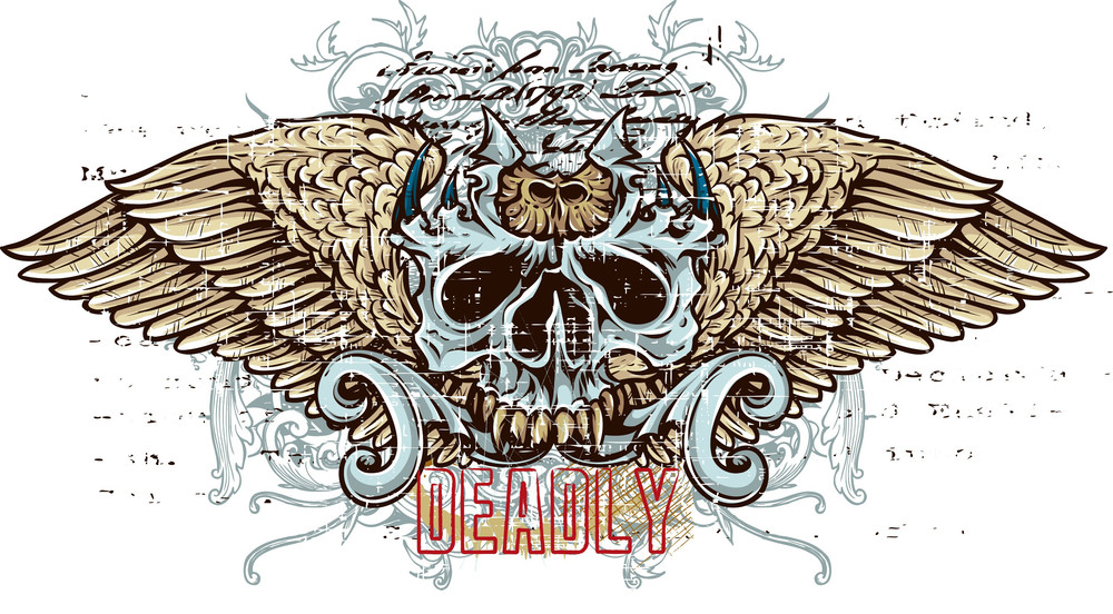 Colorful Vector T-shirt Design With Skull