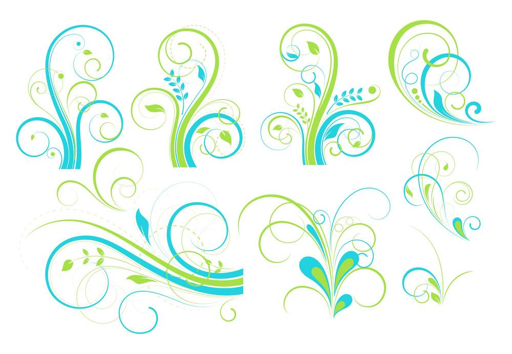 Colorful Vintage Floral Elements Set