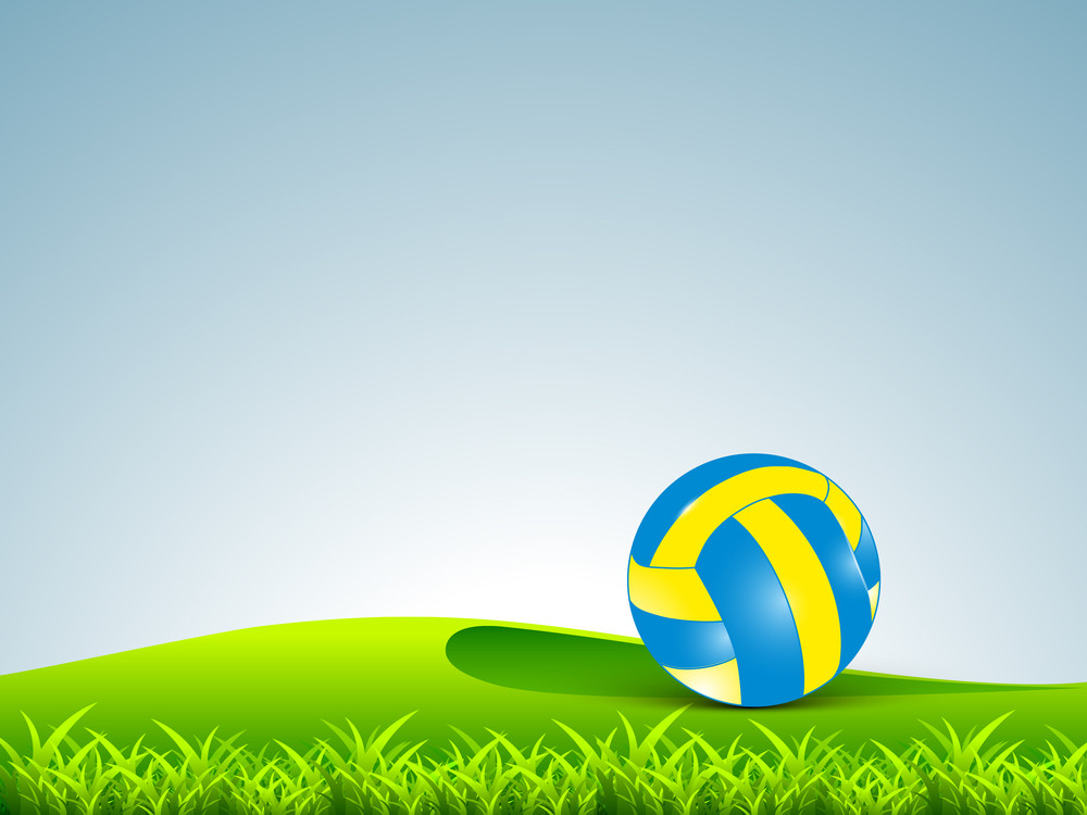 Colorful Volleybal On Ground.