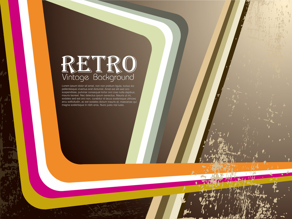 Colorful Waves Having On Retro Background. Vector.