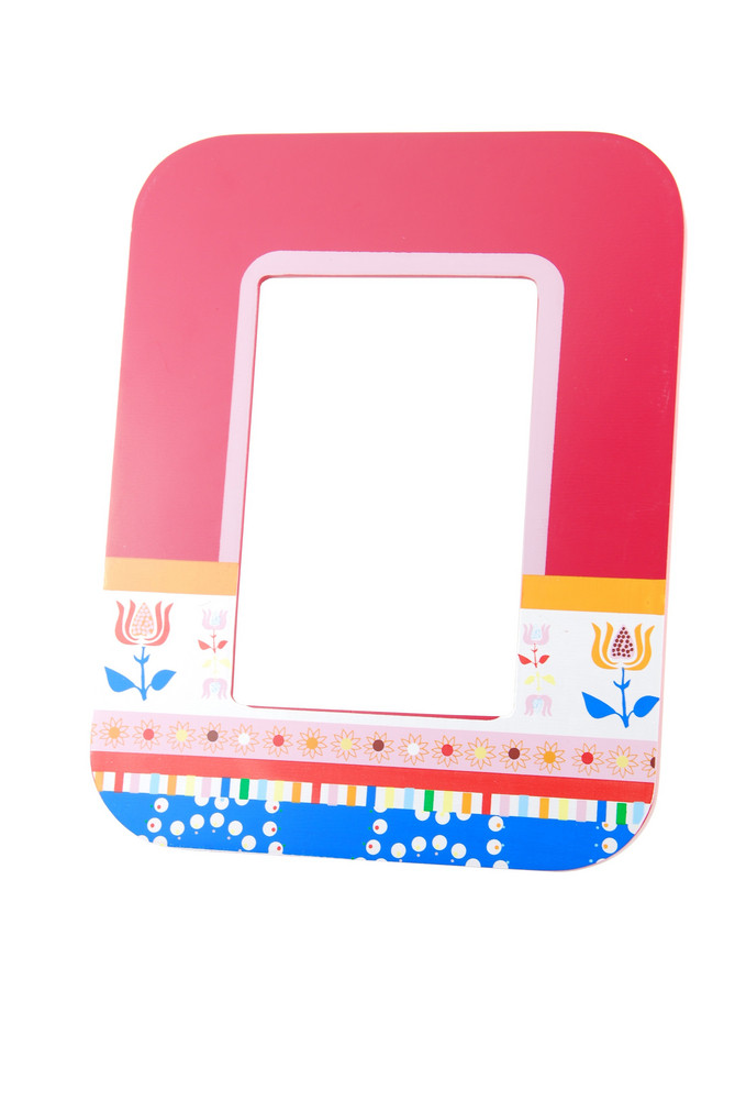 Colorful Wooden Photo-frame On White