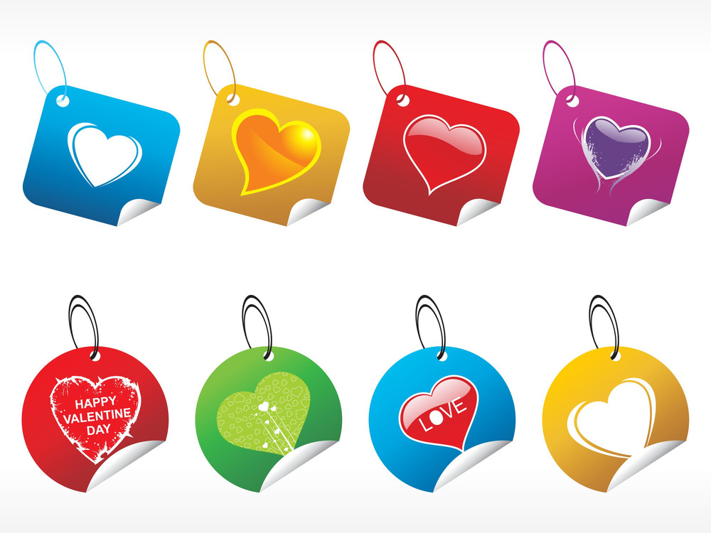 Colorfull Vector Tags With Shiny Heart