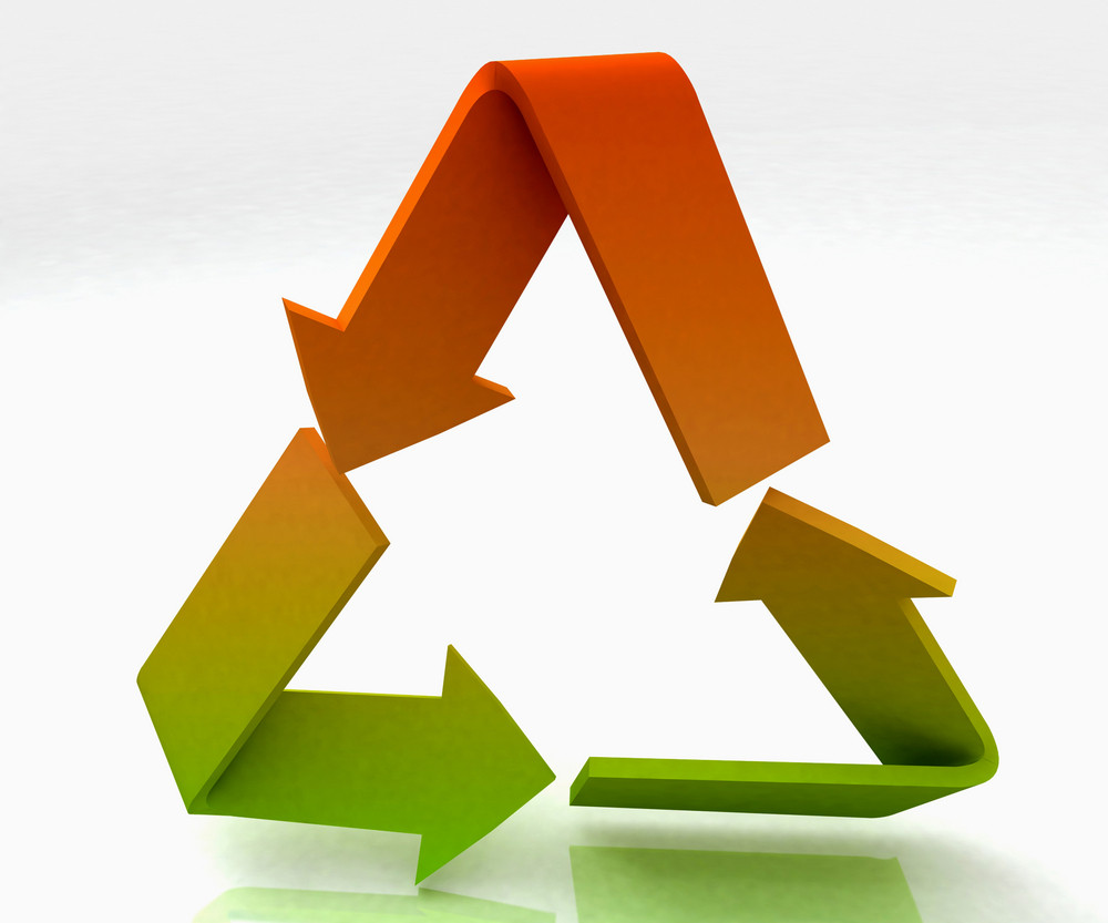 Coloured Recycle Symbol Shows Recycling