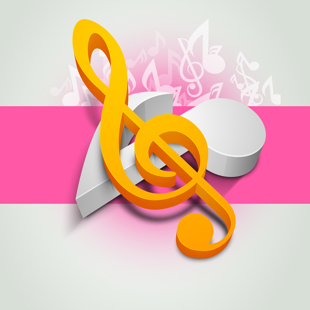 Colourful Musical Notes On Abstract Background