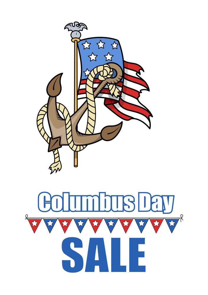 Columbus Day Anchor Usa Flag Vector Banner