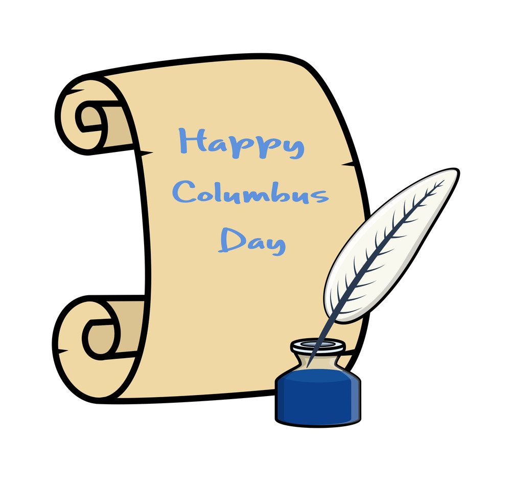 Columbus Day Banner With Inkstand