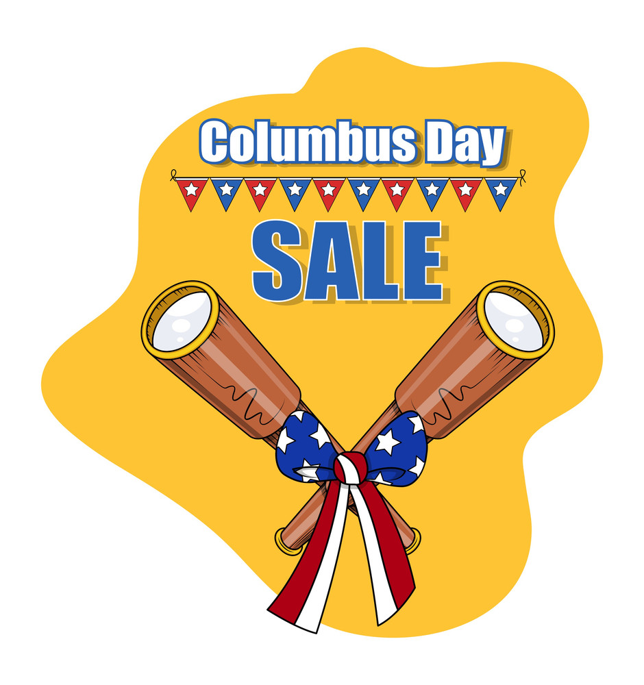 Columbus Day Binoculars Sale Banner