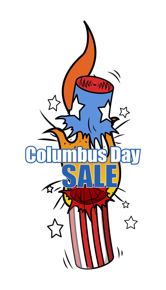 Columbus Day Bomb Explosion Offer Sale Banner