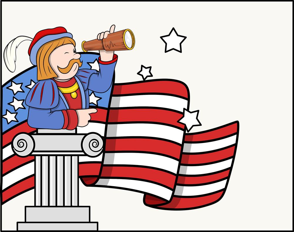 Columbus Day Cartoon Man With Binocular Flag Stand Vector Graphic